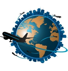 Airplane travelling around globe travel concep vector
