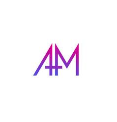 Am letters logo design on white vector