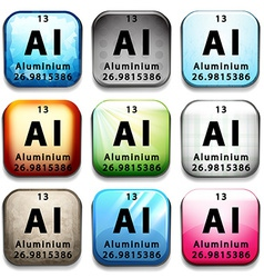 An icon showing chemical aluminium vector