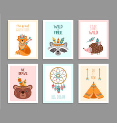 be brave posters woodland wild animals tribal vector image