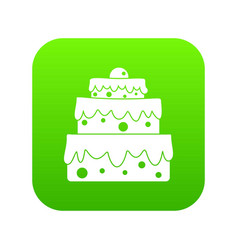 big cake icon digital green vector image