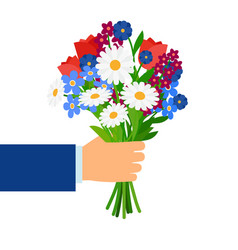 Bouquet in businessman hand vector