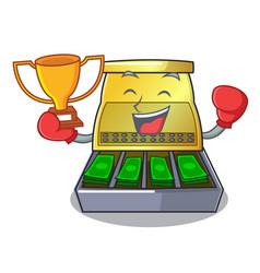 Boxing winner cartoon cash register with a money vector