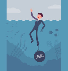 Businessman drowning chained with a weight credit vector
