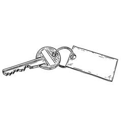 cartoon house key with empty sign ready vector image