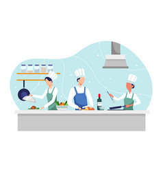 chef cooking dish vector image
