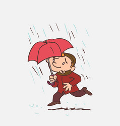 child running in the rain with an umbrella vector image