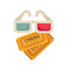 Cinema 3d glasses and tickets for movie vector