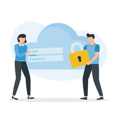 cloud security safety and confidential data vector image