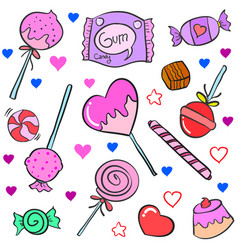 Collection of candy various colorful doodles vector