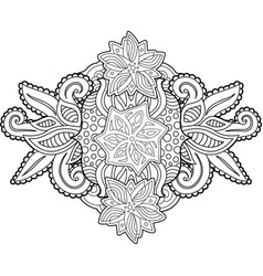 coloring book page with beautiful floral pattern vector image