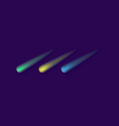 comet lights in space colorful glowing asteroid vector image