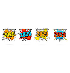 comic new year colorful banners set vector image