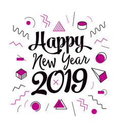 creative happy new year 2019 memphis design vector image
