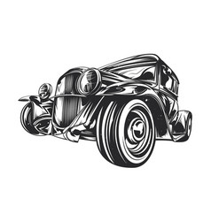 Custom hot rod hand drawn vector