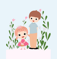 cute baby girl and boy in the spring garden vector image