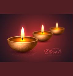 diwali diya - oil lamp holiday design for vector image