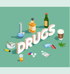 Drugs isometric composition vector