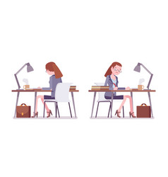 female teacher sitting and working at the desk vector image
