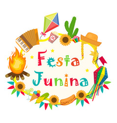 Festa junina frame with space for text brazilian vector