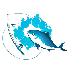 Fish in water and fishing rod vector