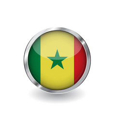 flag of senegal button with metal frame and vector image
