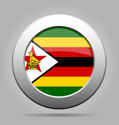 flag of zimbabwe metal gray round button vector image