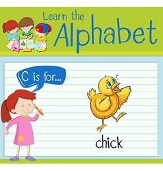 Flashcard letter C is for chick vector image