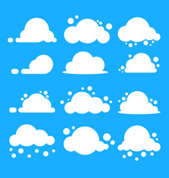 Flat cloud set white clouds on blue background vector