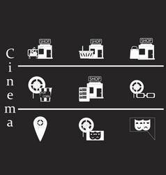Flat icons set cinema vector