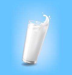 flow cow milk crown splash closeup cup glass blue vector image