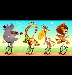 Funny wild animals on unicycles vector image