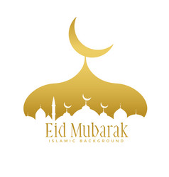 Golden creative mosque design for eid mubarak vector