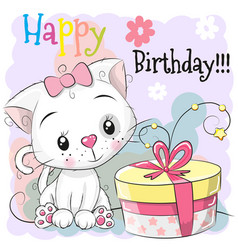 Greeting birthday card cute kitten with gift vector