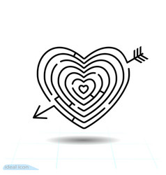 heart maze arrow heart icon love sign valentines vector image
