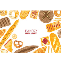Horizontal banner decorated with breads and baked vector