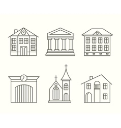 House building icons set in line style vector image