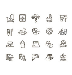 Icon and logo of bathroom editable outline vector