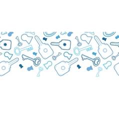 Keys line art horizontal seamless pattern vector