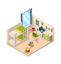 Kids room interior for children with desk sofa vector