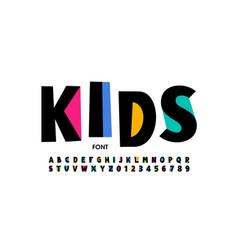 Kids style font design playful alphabet letters vector