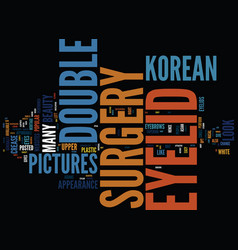 Korean double eyelid surgery pictures text vector