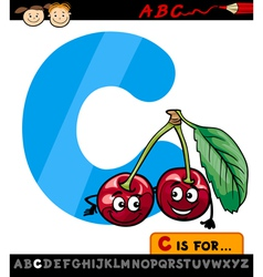letter c with cherry cartoon vector image