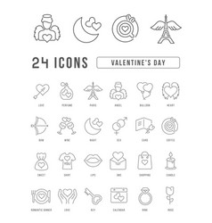 line icons valentines day vector image