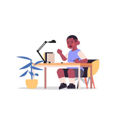 Little african american studying and doing vector