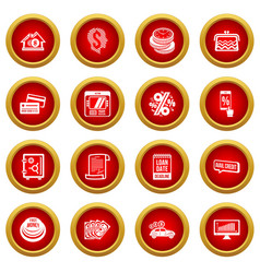 loan credit icons set simple style vector image