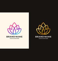 lotus line flower logo design vector image