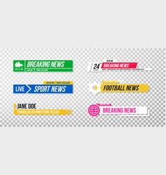 lower third template set tv banners and bars vector image