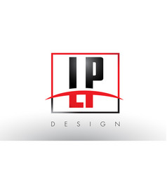 Lp l p logo letters with red and black colors and vector