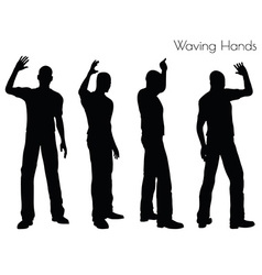 Man in Waving Hands pose on white background vector